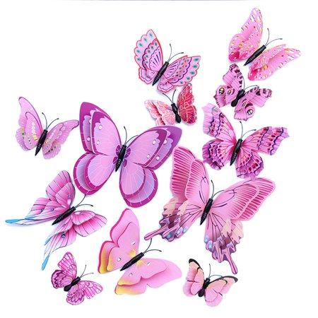 3d Three-dimensional Double-layer Simulation Butterfly PVC Color Butterfly Wall Sticker Wall Sticker Butterfly Wall Sticker Simulated Butterfly Butterfly Decoration](Butterflies Decorations)