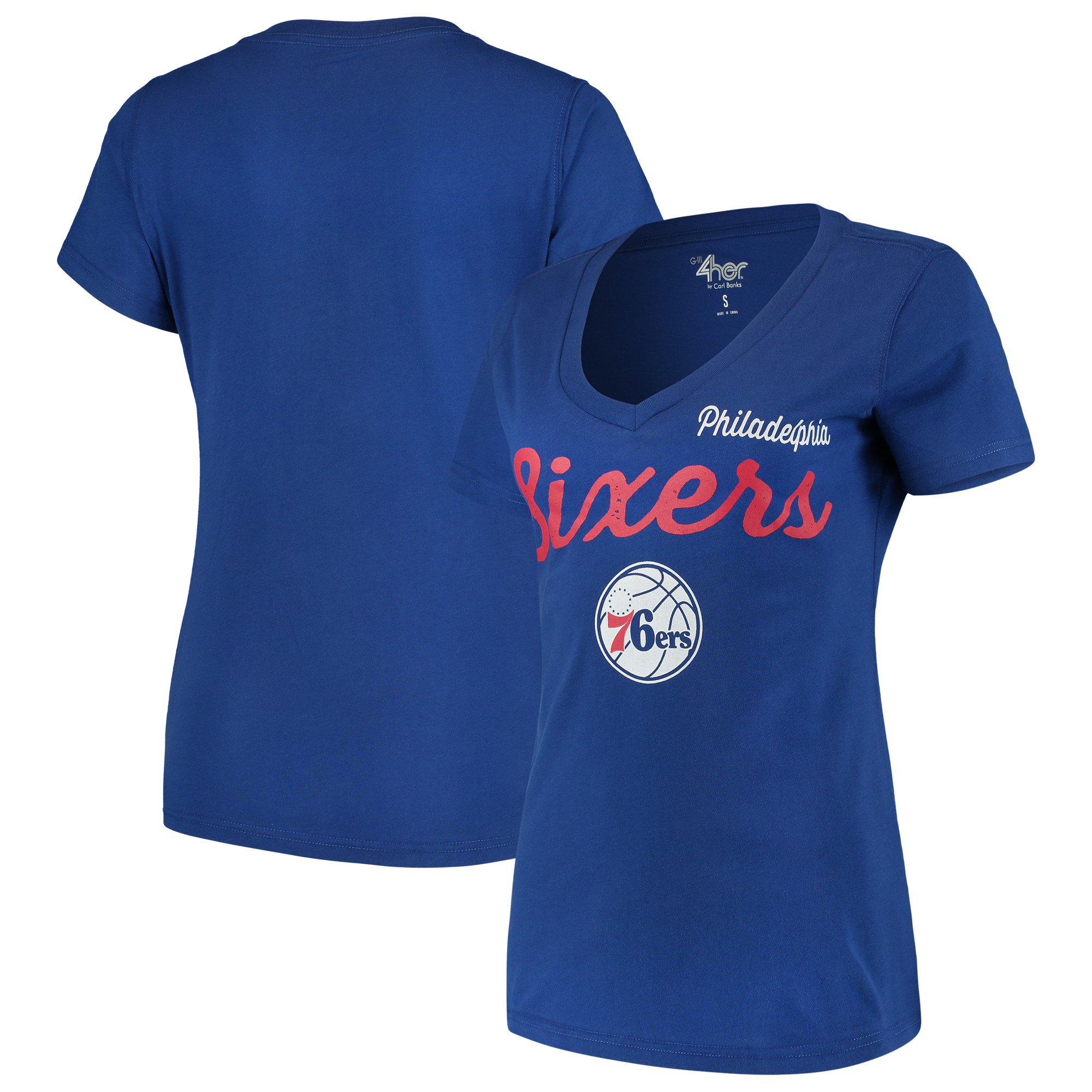 Philadelphia 76ers G-III 4Her by Carl Banks Women's Post Season V-Neck Short Sleeve T-Shirt - Blue