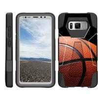 TurtleArmor ® | For Samsung Galaxy S8 Active G892 [Dynamic Shell] Dual Layer Hybrid Silicone Hard Shell Kickstand Case - Basketball Seams