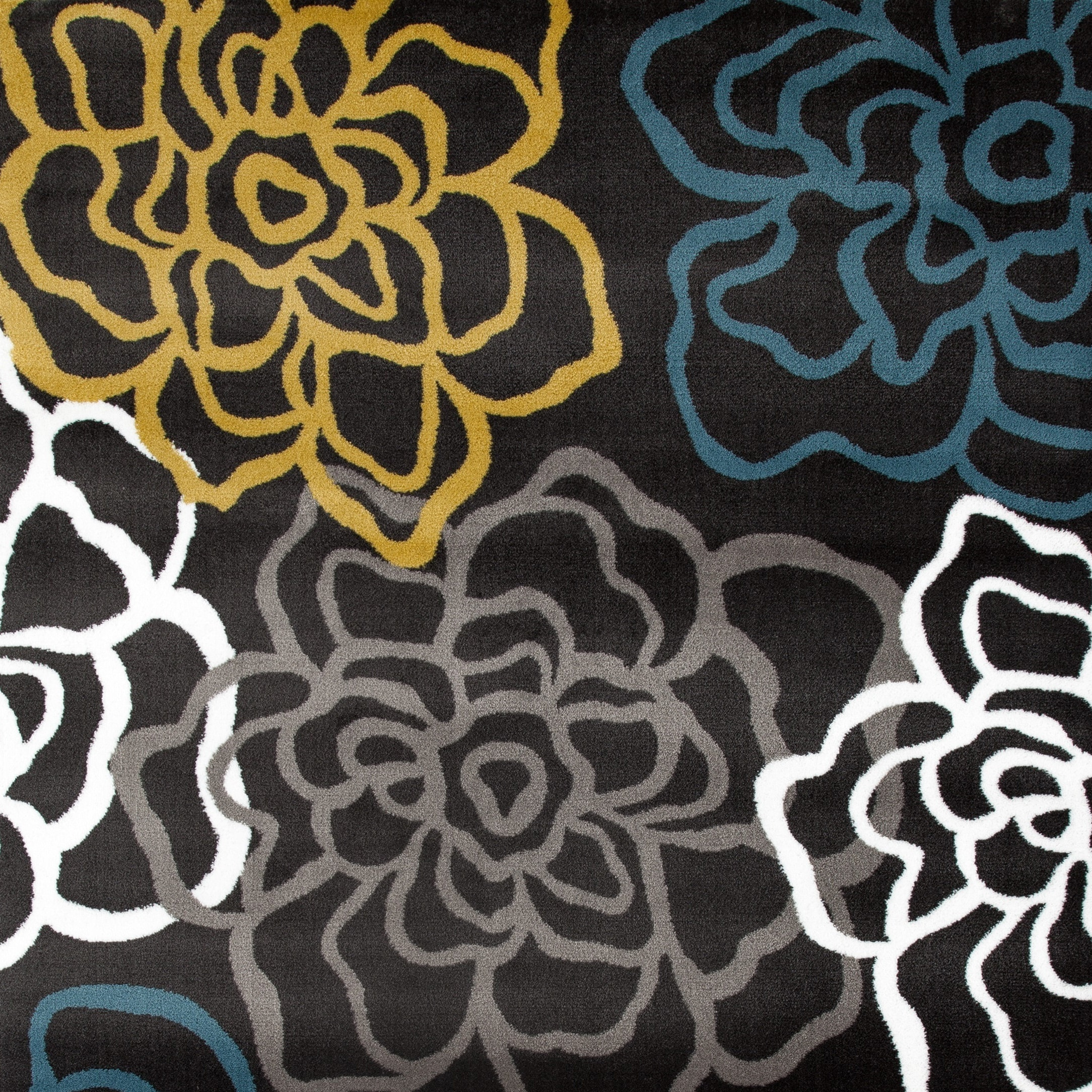 World Rug Gallery Contemporary Modern Floral Flowers Brown 2' x 3' Indoor Area Rug