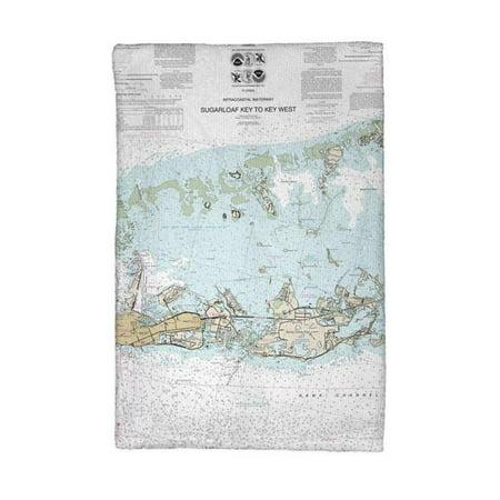 Betsy Drake KT11446K Sugarloaf Key to Key West, FL Nautical Map Kitchen Towel