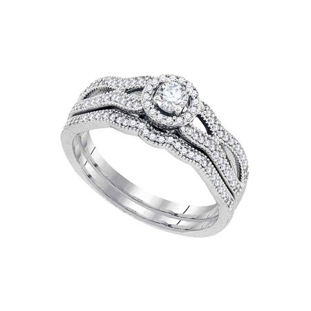 10kt White Gold Womens Round Diamond Bridal Wedding Engagement Ring Band Set 3/8 Cttw - image 1 of 1