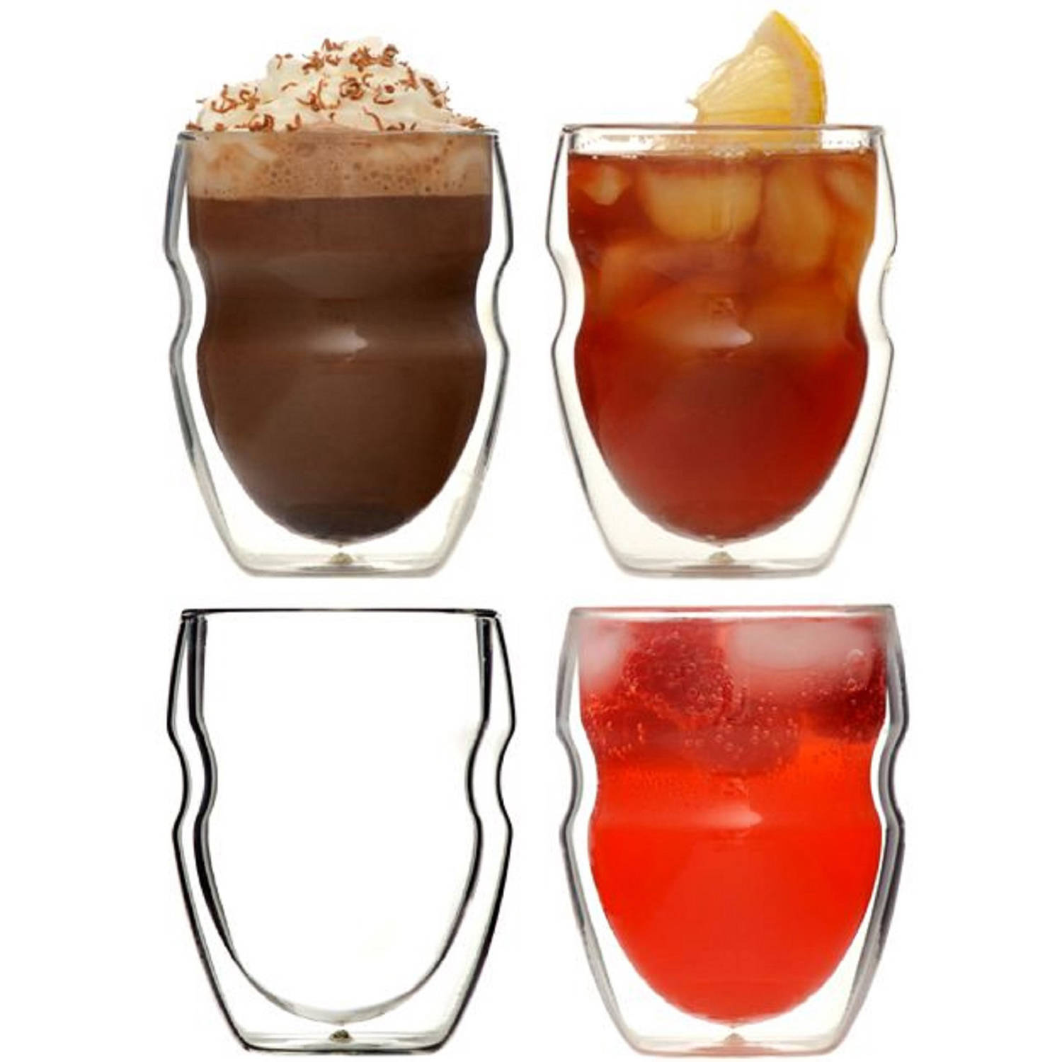 Serafino Double Wall 8 oz Beverage and Coffee Glasses, Set of 4 by OZERI