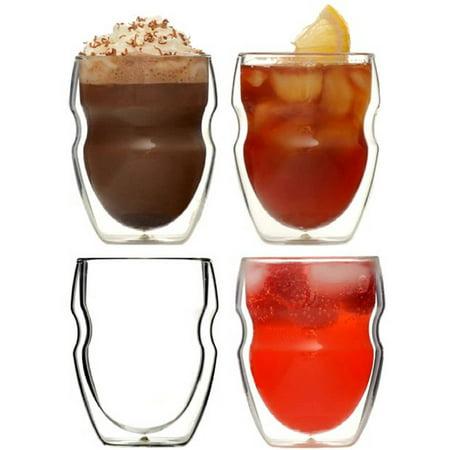 Ozeri Serafino Double Wall 8 Oz Beverage & Coffee Glasses - Set Of 4 Insulated Drinking -