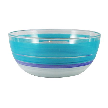 Turquoise, White and Purple Retro Stripes Hand Painted Glass Serving Bowl 11