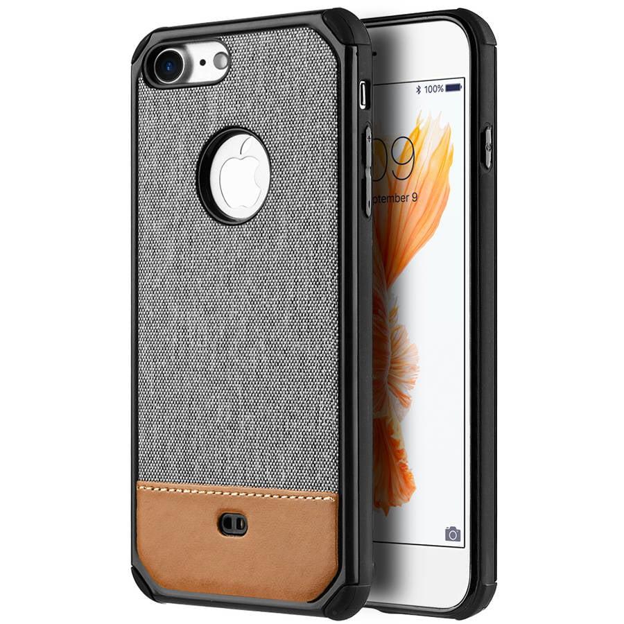 Mundaze Brown Canvas Dual-Tone Case for Apple iPhone 7, Grey
