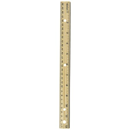 "Westcott 12"" Hole Punched Wood Ruler English and Metric With Metal Edge"