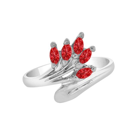 Sterling Silver White Rhodium, Marquise Cluster Ring Jan Created CZ Crystals Birthstones