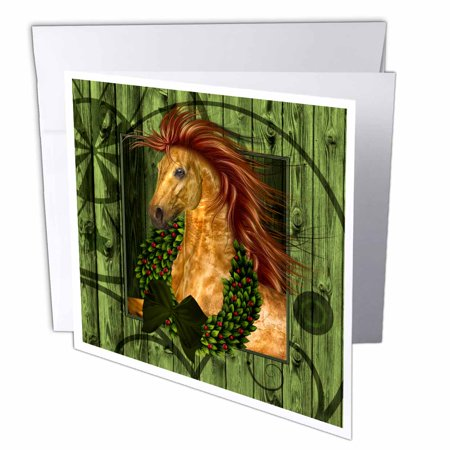 Pottery Barn Wreaths - 3dRose Western Christmas Horse with Wreath and Barn Wood , Greeting Cards, 6 x 6 inches, set of 6