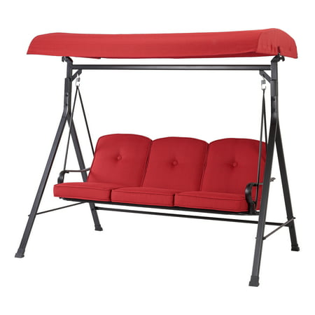Mainstays Carson Creek Three-Seat Canopy Patio Swing with Brick Red Cushions