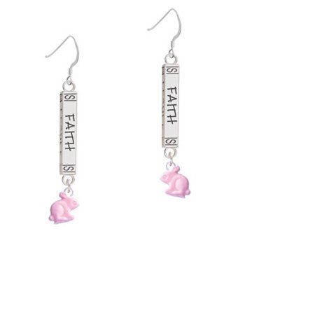 Mini Pink Bunny - Faith Bar French Earring - Bunny French