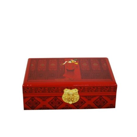 Elegant Oriental Hand Painting Lacquered Jewelry Box (Peacock)