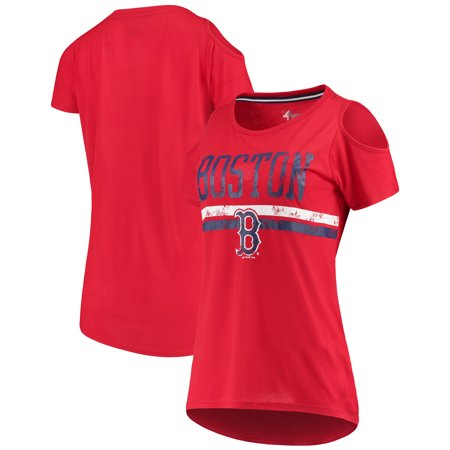 Boston Red Sox G-III 4Her by Carl Banks Women's Clear The Base Cold Shoulder Scoopneck T-Shirt - (Red Sox Therma Base)