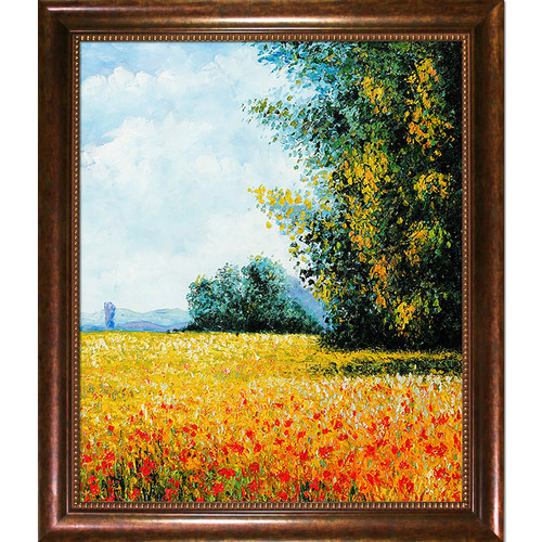 Wildon Home  Champ Davoine (Oat Field) by Claude Monet Framed Original Painting