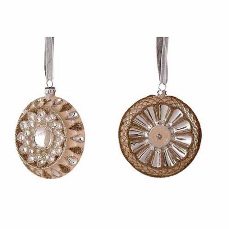 "Winter Sage Holiday Collection 4.25"" Round Disc Christmas Ornament, Assortment of 2, 12-Pack"
