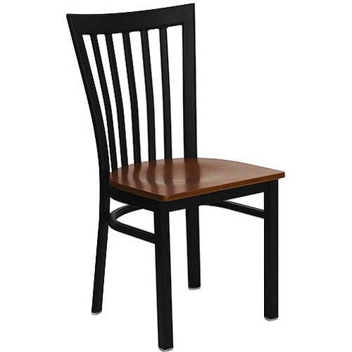 Flash Furniture School House Back Chairs - Set of 2, Black Metal / Cherry Wood Seat