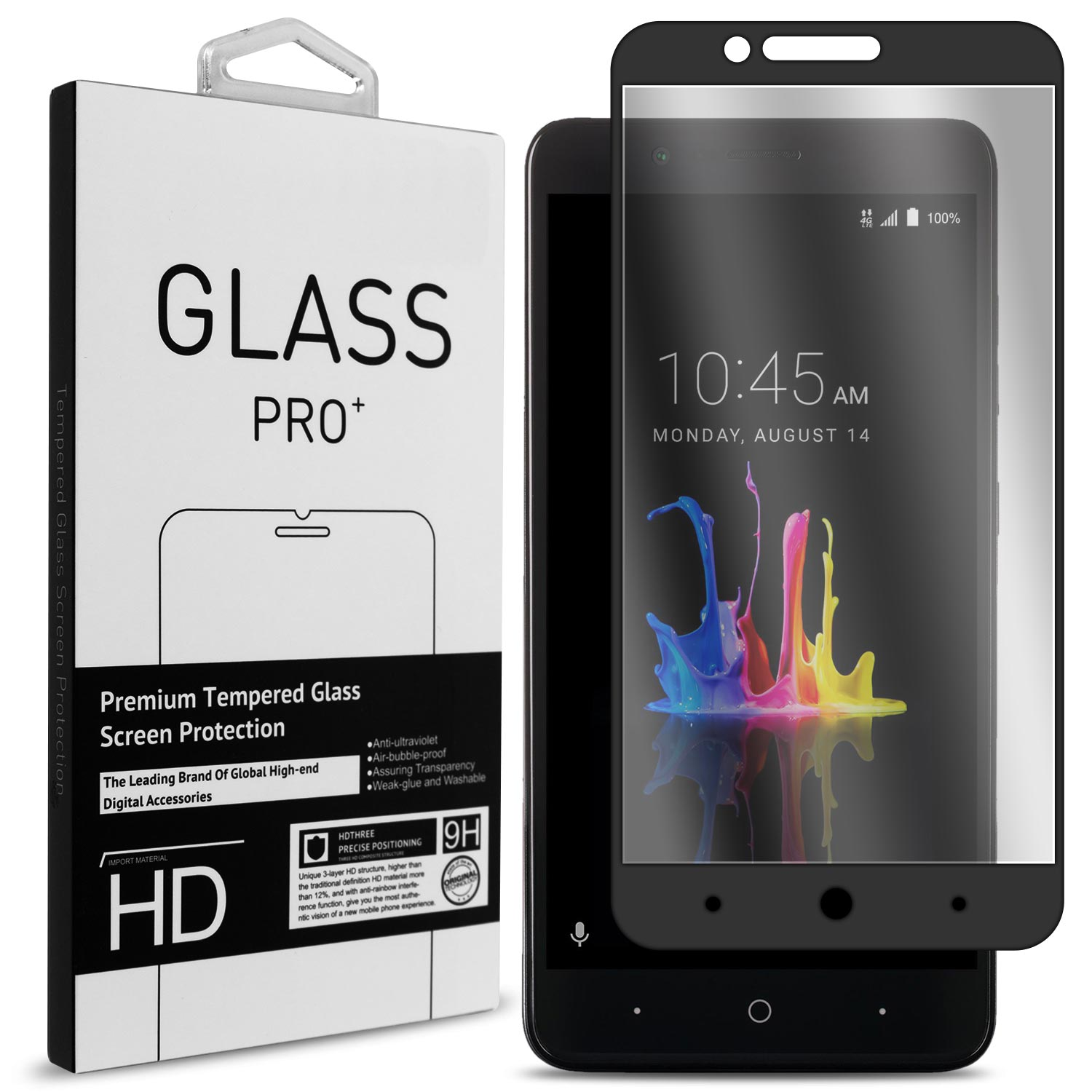 CoverON ZTE Blade Z Max / ZMax Pro 2 / Sequoia Tempered Glass Screen Protector - InvisiGuard Series Full Coverage 9H with Faceplate (Case Friendly)