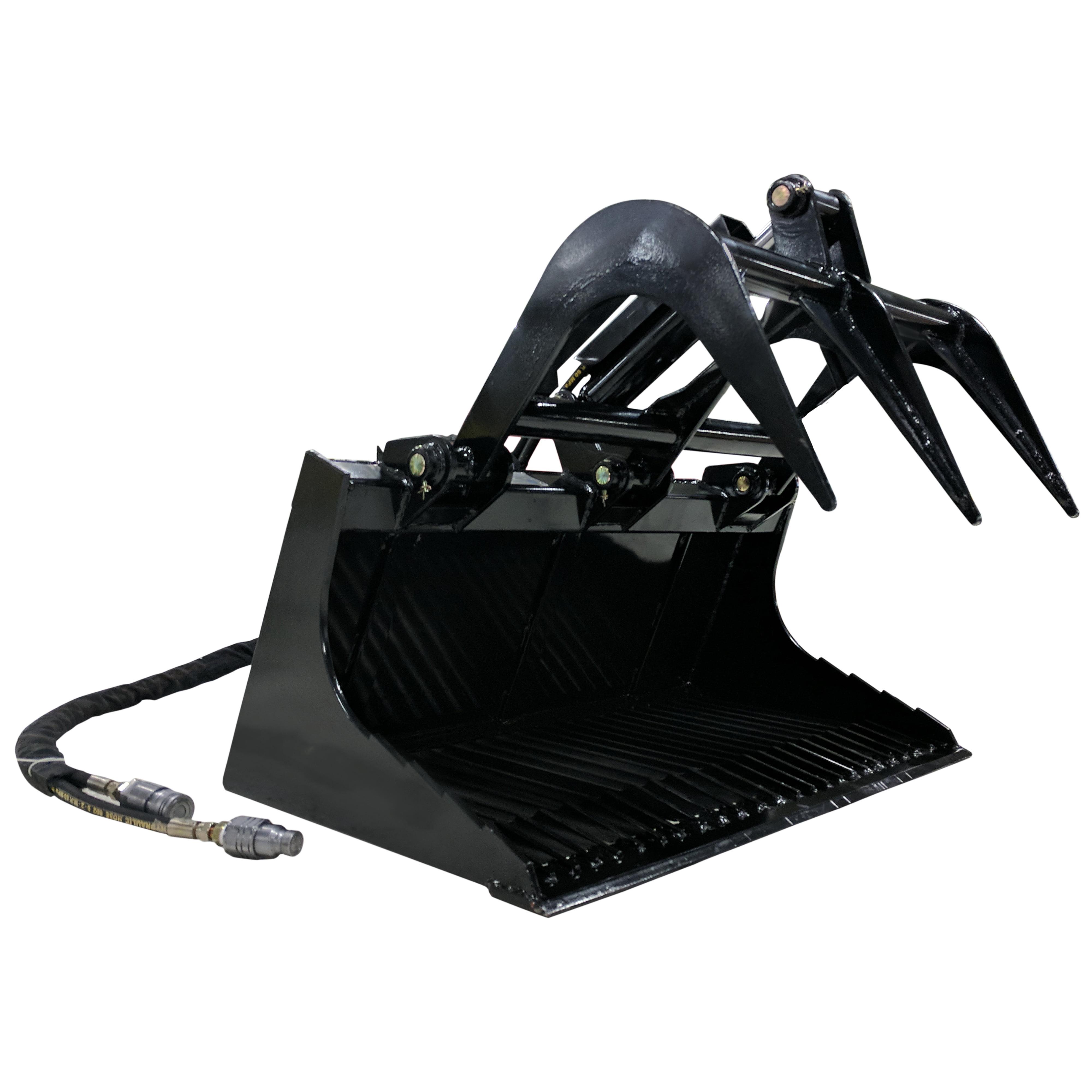 "Titan 36"" Mini Skid Steer Rock Bucket Grapple Attachment"