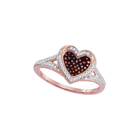 10kt Rose Gold Womens Round Red Color Enhanced Diamond Heart Love Ring 1/5 Cttw - image 1 of 1