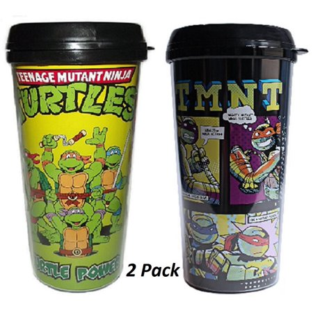 Silver Buffalo Nickelodeon Teenage Mutant Ninja Turtles Plastic Travel TMNT Mug 16-Ounce Cups Set of 2 ()