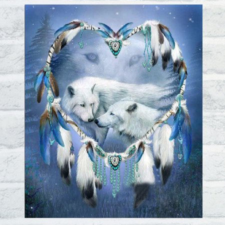 - Girl12Queen White Wolf 5D Diamond Embroidery Cross Stitch Painting Kit DIY Home Wall Decor