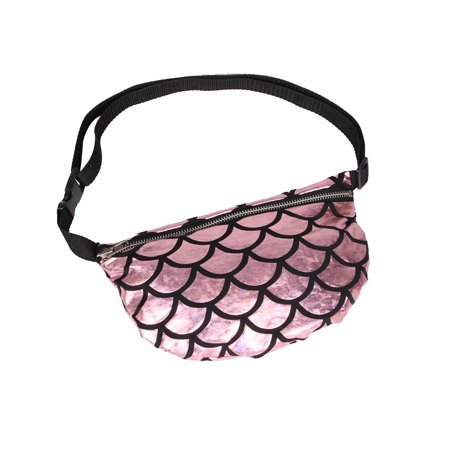 Multifunctional Fish Scale Waist Bag Cosmetic Makeup Fanny Pack Casual Sports Waist Pouch (Pink) - Fish Scale Makeup