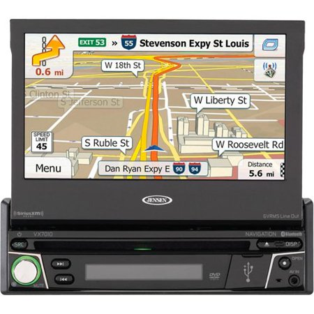 Jensen VX7010 1DIN Multimedia Receiver with Built-In Navigation and Bluetooth by