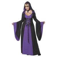 Womens Black Purple Hooded Robe Wicked Witch Halloween Plus Size Costume 2XL-3XL