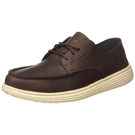 - Skechers 65504 Men's Moc Toe Leather Lace up Oxford Shoe, Chocolate - 14