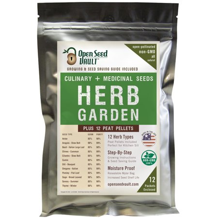100% NON-GMO Heirloom Culinary and Medicial Herb Kit - 12 popular Easy-to-Grow Herb Seeds by Open Seed Vault - includes 12 seed starting peat