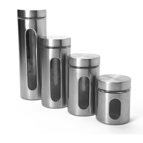 Anchor Hocking 4-Piece Palladian Canister Set with Window, Stainless Steel