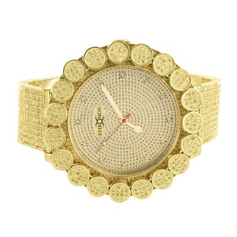Mens Diamond Dial Watch 14k Solid Gold Plate Flower Large 1 Row Bezel Khronos