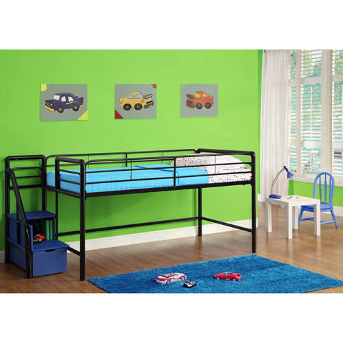 Junior Twin Loft Bed with Storage Steps, Black