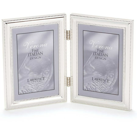 5x7 Hinged Double (Vertical) Metal Picture Frame Silver-Plate with ...