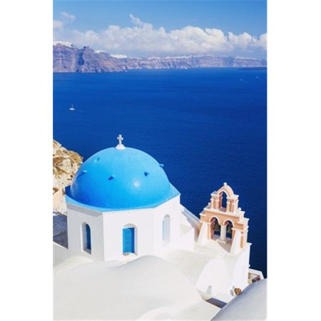Church Bell Tower Above Blue Sea Santorini Island Greece Poster Print by Design Pics Vibe, 17 x 11 - image 1 of 1