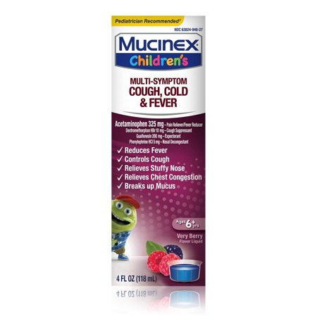 Mucinex Childrens Multi-Symptom Cold and Fever Liquid, Very Berry, 4 Ounce (Packaging May Vary)