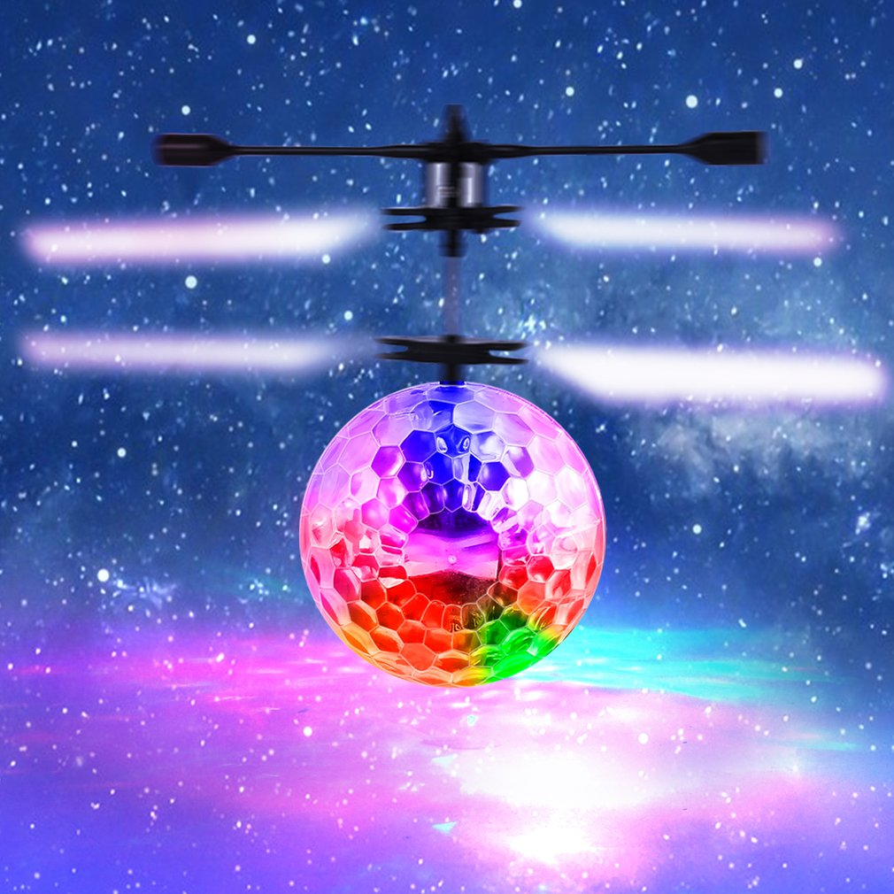Infrared Induction Flying Flash Disco Colorful LED Ball Helicopter Child Toy by