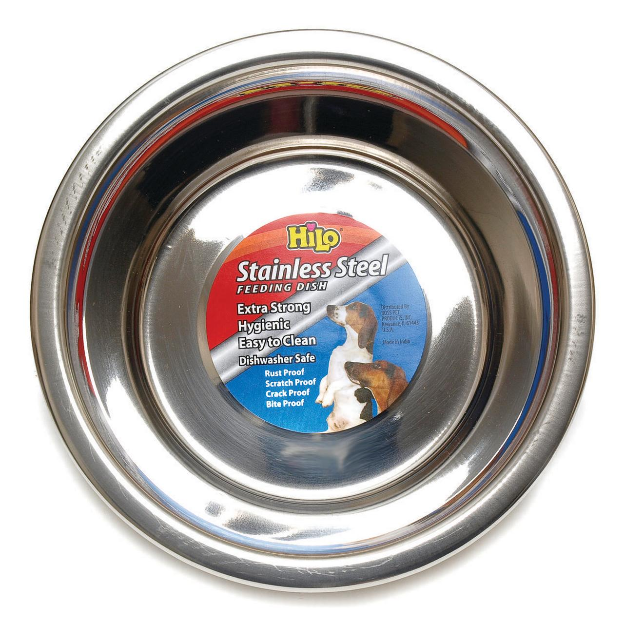 Boss Pet 56620 Hilo Pet Feeding Bowls, Stainless Steel, 2 Qt
