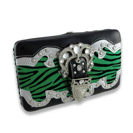Metallic Flocked Zebra Print Flat Wallet W/Jeweled Rhinestone (Metallic Flat Wallet)