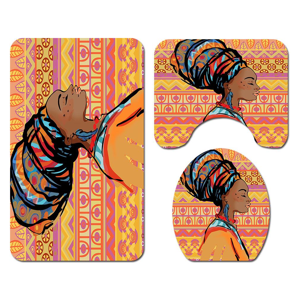 Long Hair African Girl Waterproof Fabric Shower Curtain Set Bathroom w//12 Hook