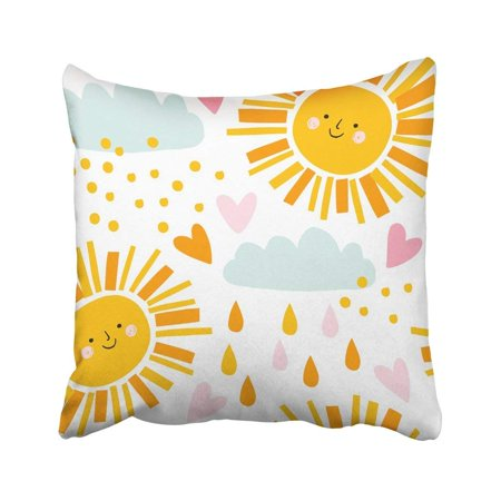 ARTJIA Orange Cute Smiling Sun Clouds And Raindrops Pattern Summer Funny Design And Baby Pink Pillowcase Cover 16x16 inch