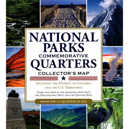 America the Beautiful National Parks Quarters Collector Map 2010-2021 by