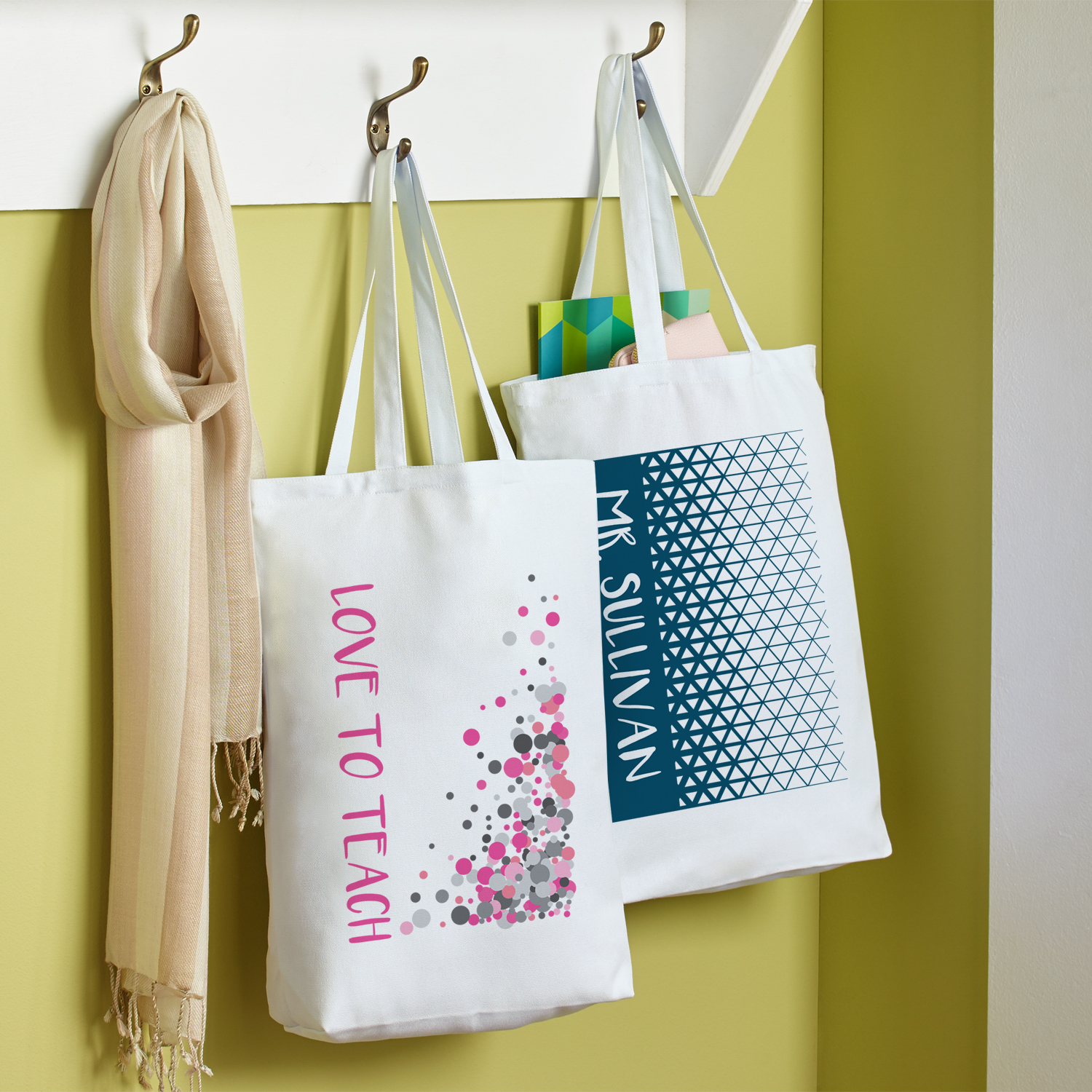 Personalized Pop Patterns Tote Bag - Available in Pink or Navy