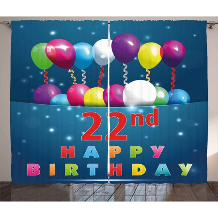 22nd Birthday Decorations Curtains 2 Panels Set Party Birth With Colorful Balloons Wishes Joyful Occasion