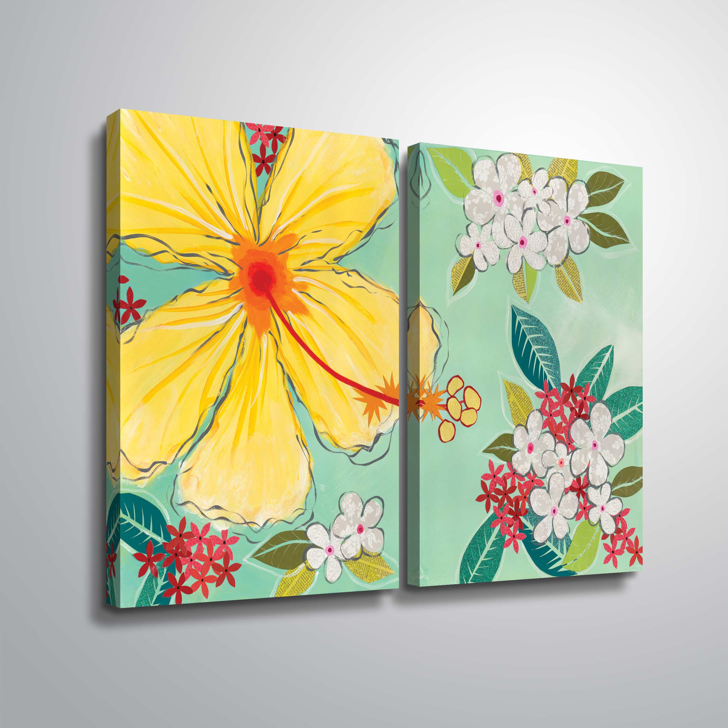 Artwall Tropical Flower 2 Piece Gallery Wrapped Canvas Set By Jennifer Peck Walmart Com Walmart Com