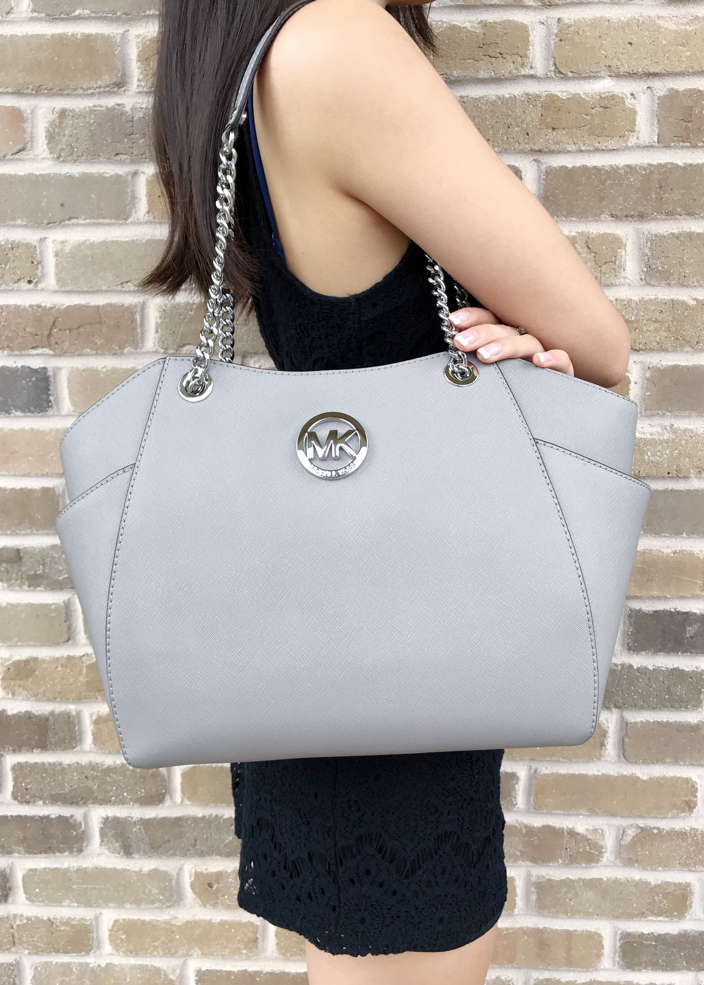 ... where to buy nwt michael kors grey saffiano leather jet set travel chain  shoulder tote bag f790abb8af987