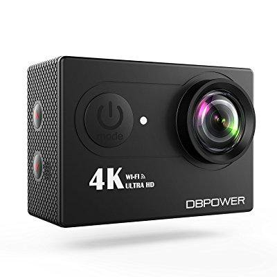 dbpower 4k action cam wifi 12mp waterproof sport camera 170 degree wide view angle 2 rechargeable batteries and kit of