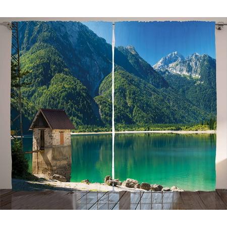 Julian Bedroom (Italy Curtains 2 Panels Set, Predil Alpine Lake North Italy Slovenian Border Julian Alps Idyllic Scenery, Window Drapes for Living Room Bedroom, 108W X 90L Inches, Sea Green Blue Ivory,)