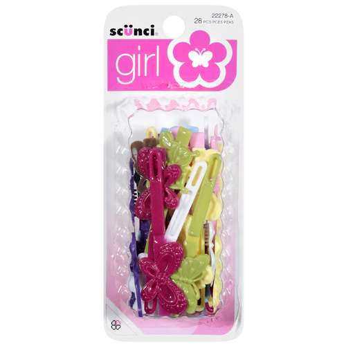 Girl Self Hinge Plastic Butterfly Hair Barrettes - 28 Pcs