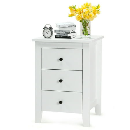 Nightstand End Beside Table Drawers Modern Storage Bedroom Furniture White ()